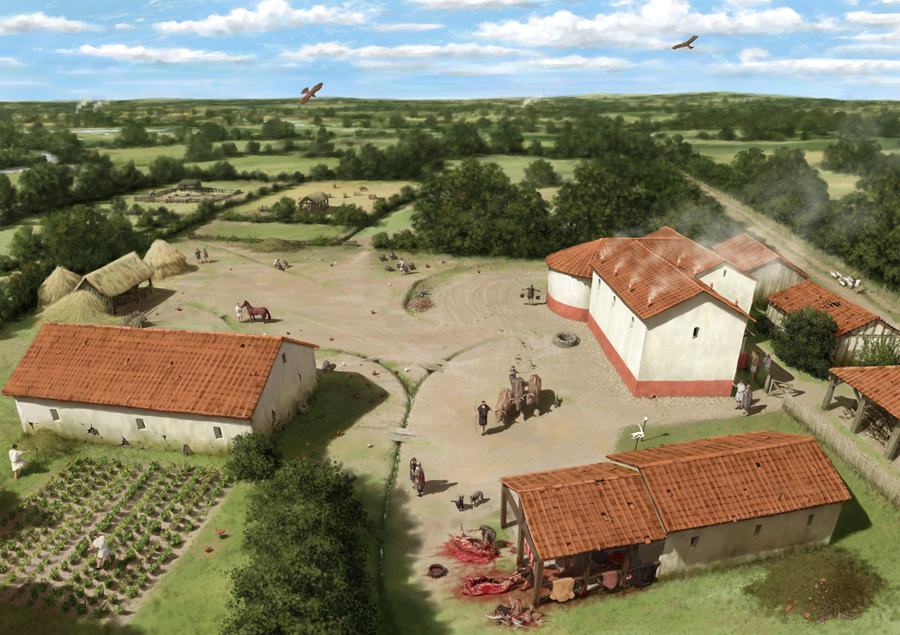 Romano-British farmstead at the height of its wealth around 300 AD. Smoke rises from the bath house chimneys. Three medium-sized rooms had cold, warm and hot baths. Rooms were heated by hot air from a wood-fired furnace which circulated under the floor. There may have been an exercise room and a shrine. Illustration by Pete Urmston