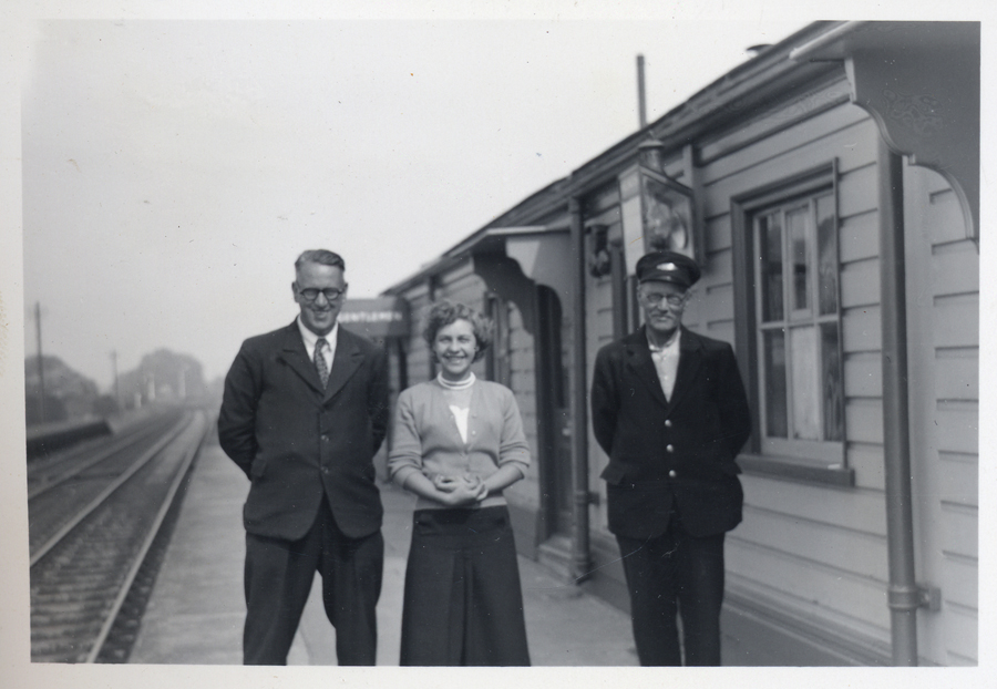 Railway staff at Willington Station in the 1950s. In the middle is Barbara Wooding, porter, who became the first female signalman in the Midland Region. Photograph courtesy of Bedfordshire and Luton Archives Service.