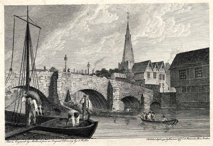River traffic by the old Bedford town bridge, 1794. Some residents complained of the river being too full of boats for fishing! Photograph courtesy of Bedfordshire and Luton Archives Service.