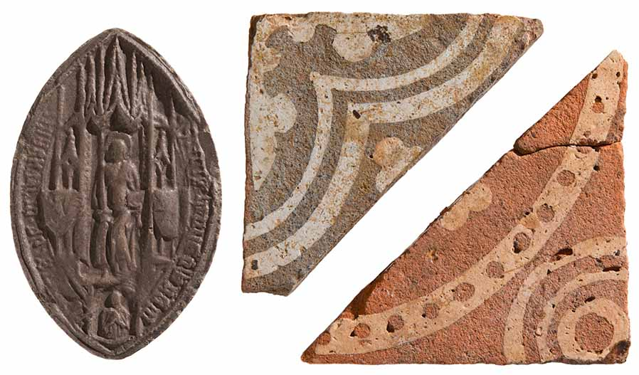 The Newnham Priory seal (left) and two decorated floor tiles from the priory church (right). Images courtesy of The Higgins Art Gallery and Museum, Bedford