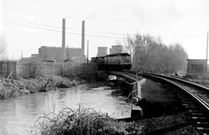 This flimsy-looking railway bridge across New Cut carried coal trains into Goldington Power Station. Photograph courtesy of Peter Green/R.C.T.S. Courtney Haydon Collection.