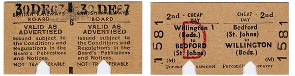A railway ticket issued on the last day Willington Station was open – 30th December 1967. Photograph courtesy of Bedfordshire and Luton Archives Service.