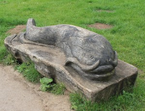 Carved fish bench at Priory Country Park